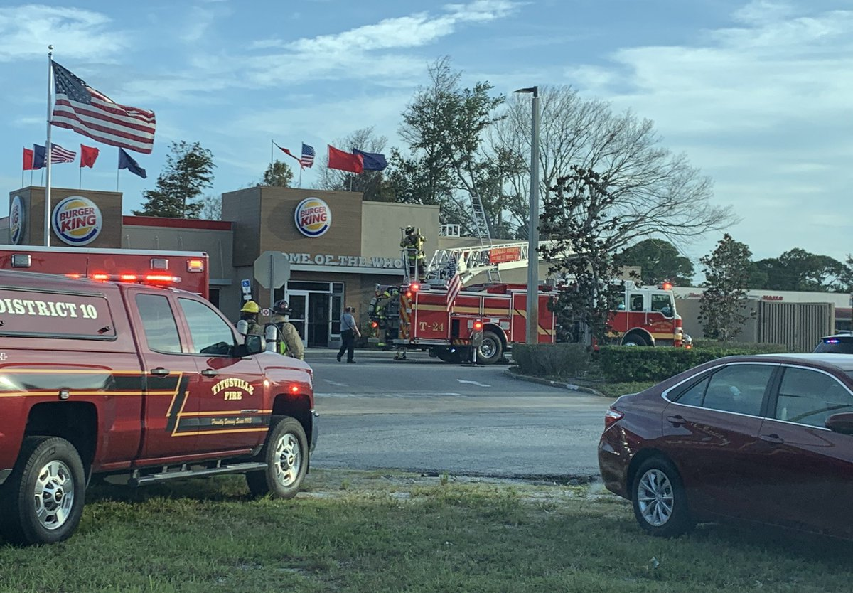 Small grease fire in a vent stack at the Burger King in #PortSaintJohn tonight. No injuries and damage limited to the area of the fryer. #BCFR inspector on scene. Both BCFR, @TitusvilleFire and Four Communities VFD on scene. #BrevardsBravest #Fire