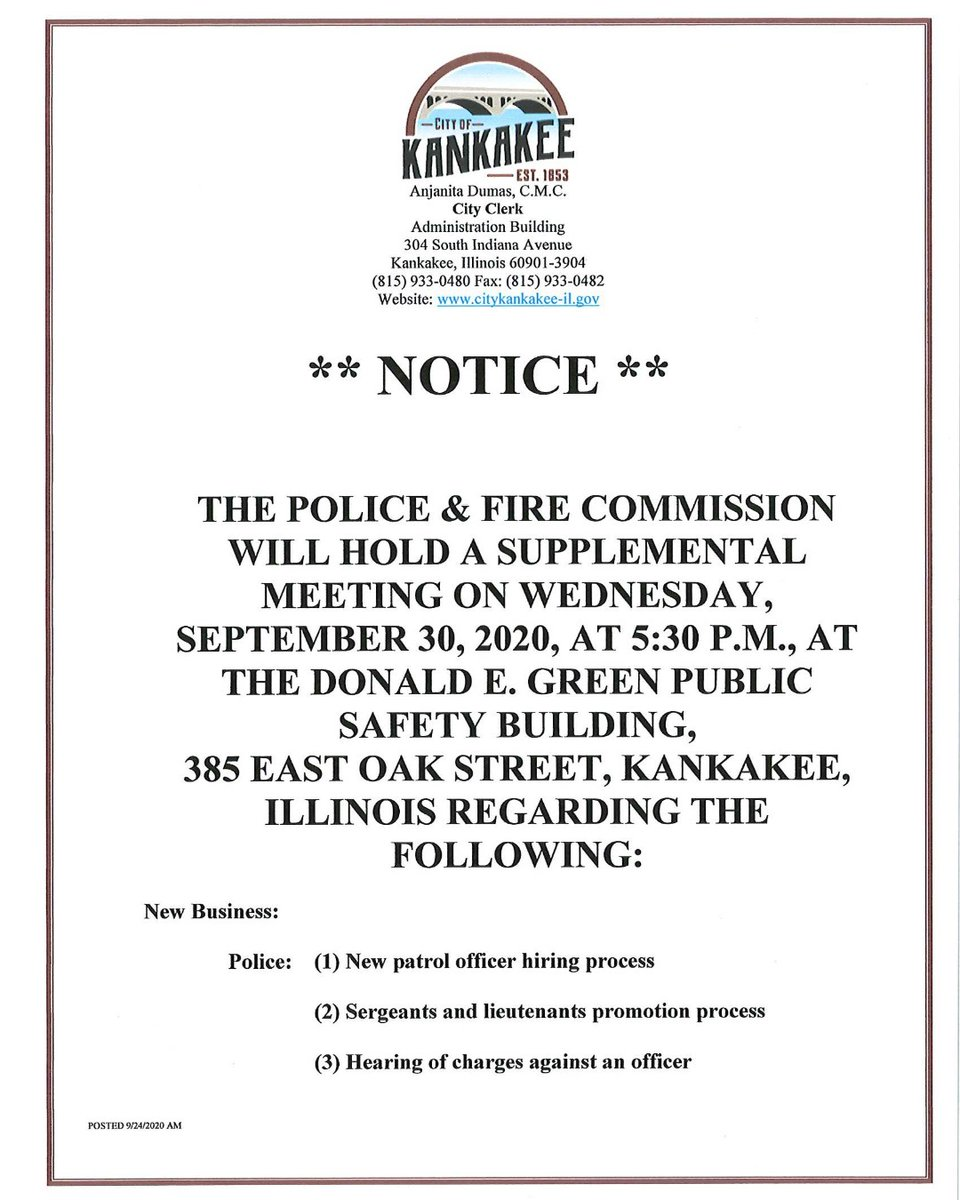*Supplemental meeting notice for the Police and Fire Commission*