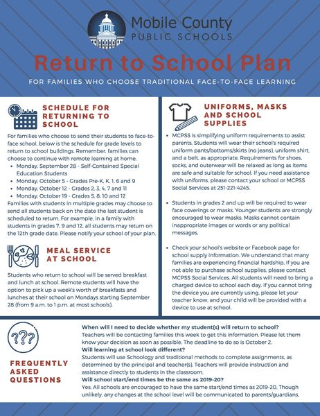 From Superintendent Threadgill: Please read the attached Return to School Plan, which should answer your questions as you decide whether your children will continue with remote learning or return to school for face-to-face instruction. #LearningLeading