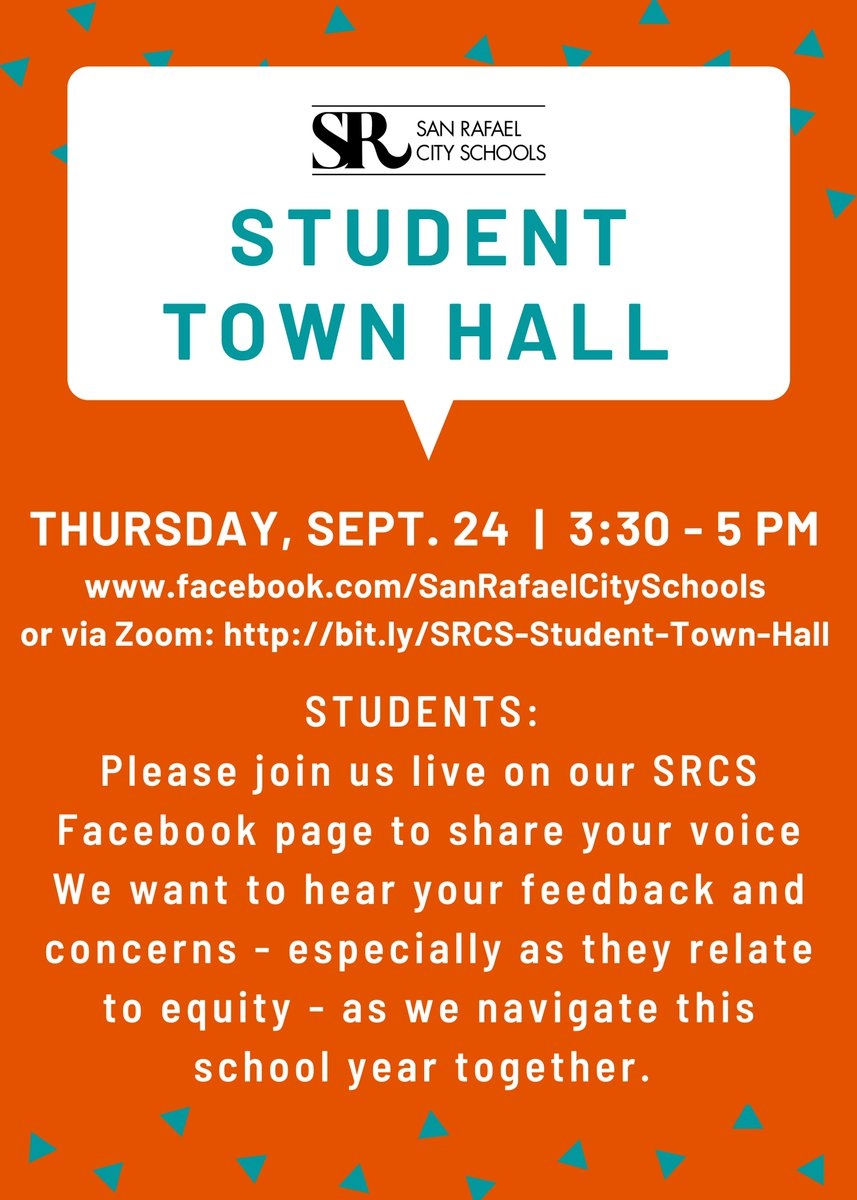 Reminder! The Student Town Hall is today at 3:30 pm! Students can participate on our SRCS Facebook page OR via Zoom, !