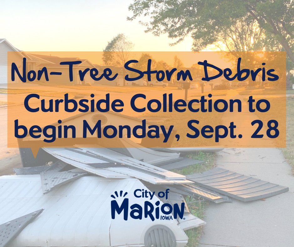 Curbside collection of non-tree storm debris begins on Monday! Only for items damaged in the storm. Place items at the curb separate from any tree debris. Electronics, appliances or hazardous materials cannot be disposed of at the curb. Learn more: