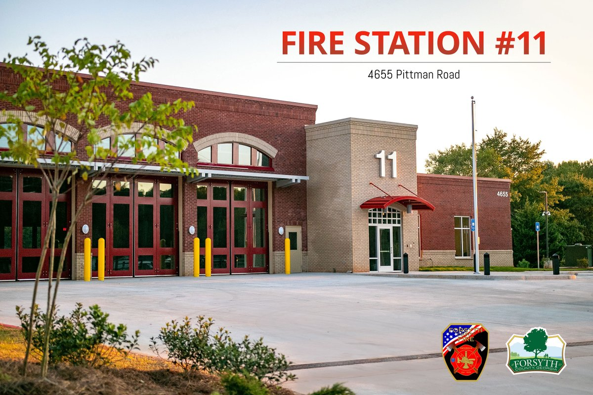 Forsyth County Fire Department's new Fire Station 11 (4655 Pittman Road) will officially open on Monday, Sept. 28, to improve service and reduce response times in the west central portion of Forsyth County.  Learn more: