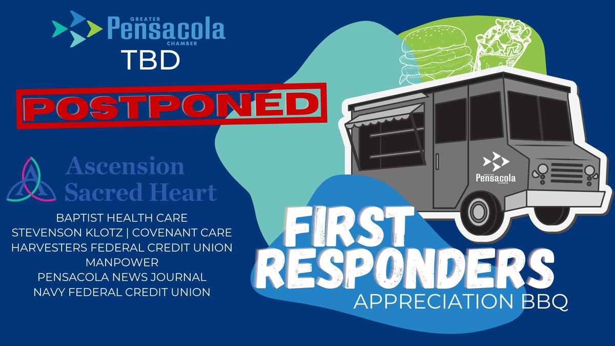 To the our first responders in Pensacola and Escambia County:  Due to recent events with Hurricane Sally, the First Responders Appreciation BBQ event tomorrow is postponed. We will notify you all whenever the new date is set and look forward to seeing you all then.