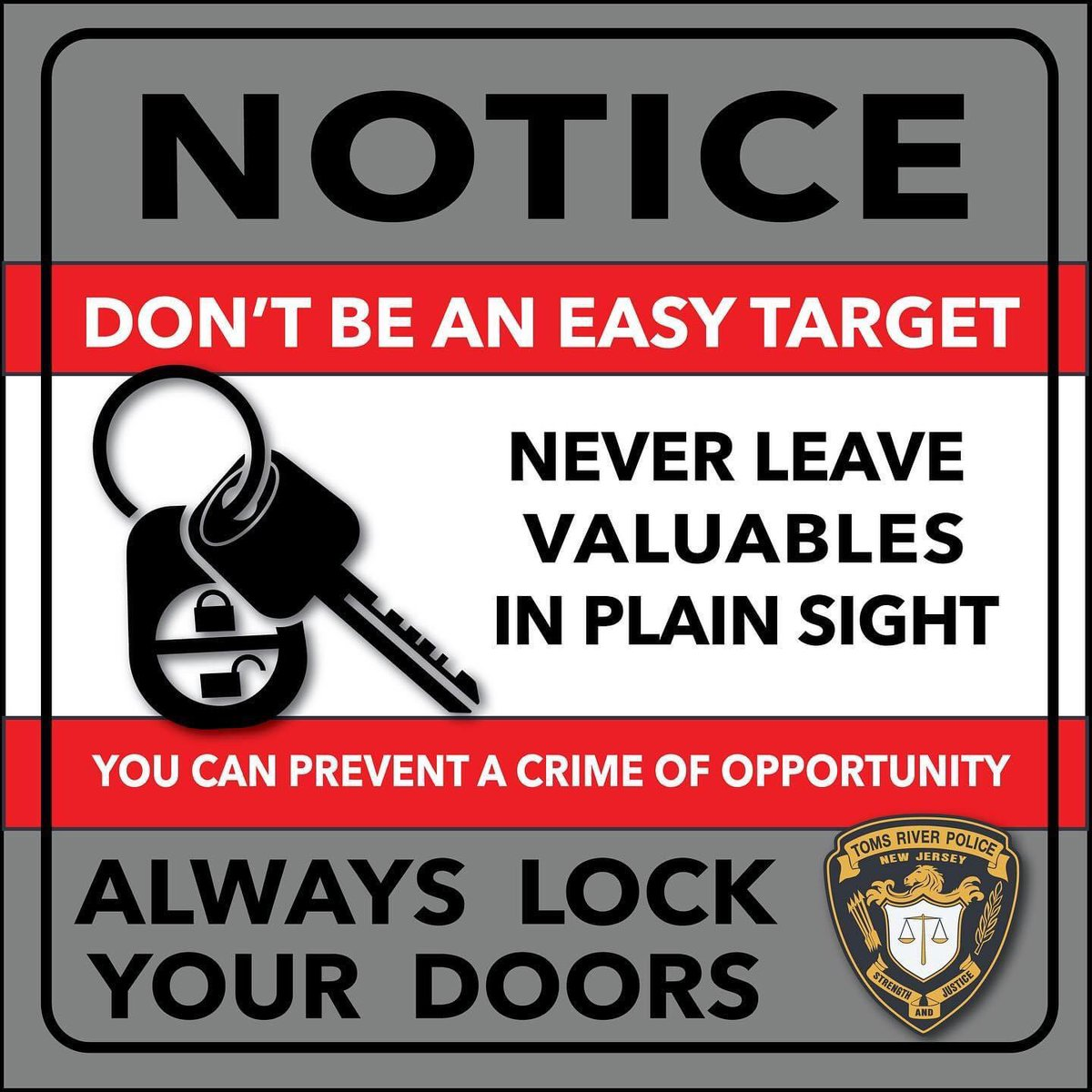 Friendly reminder - Criminals look for opportunities. Leaving your vehicles unlocked creates an easy target for them.  Please lock your car doors and do not leave valuables inside, especially in plain view.   Stay alert, stay safe!