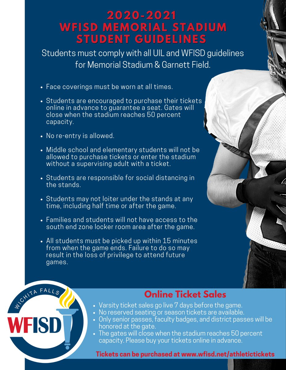 Please see the WFISD Memorial Stadium Student Guidelines below. @wfisd_athletics @Kuhrteous