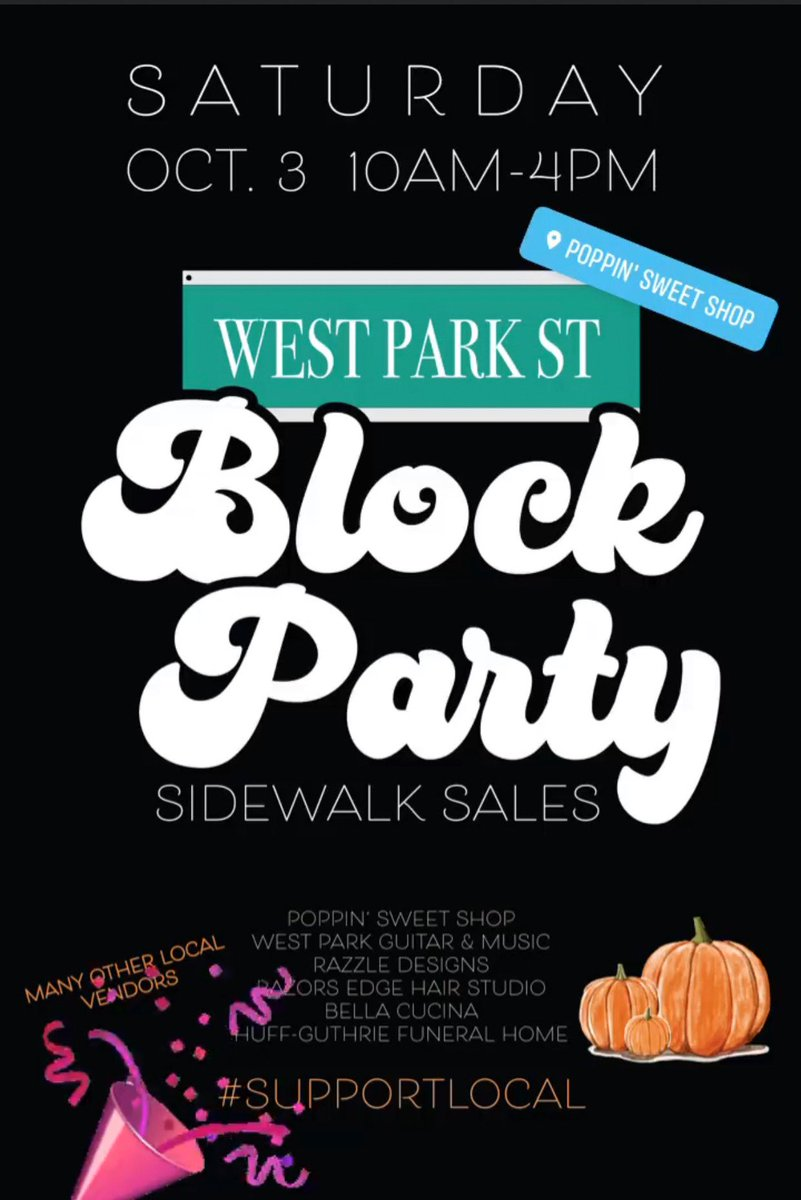Sidewalk sales with some of your favorite stores and vendors! Hosted by Poppin' Sweet Shop, West Park Guitar & Music, Razzle Designs, Razors Edge Hair Studio, Bella Cucina, and Huff-Guthrie Funeral Home. Vendors such as Ruby Ribbon, Ready Set Go Boutique, Paparazzi and more!