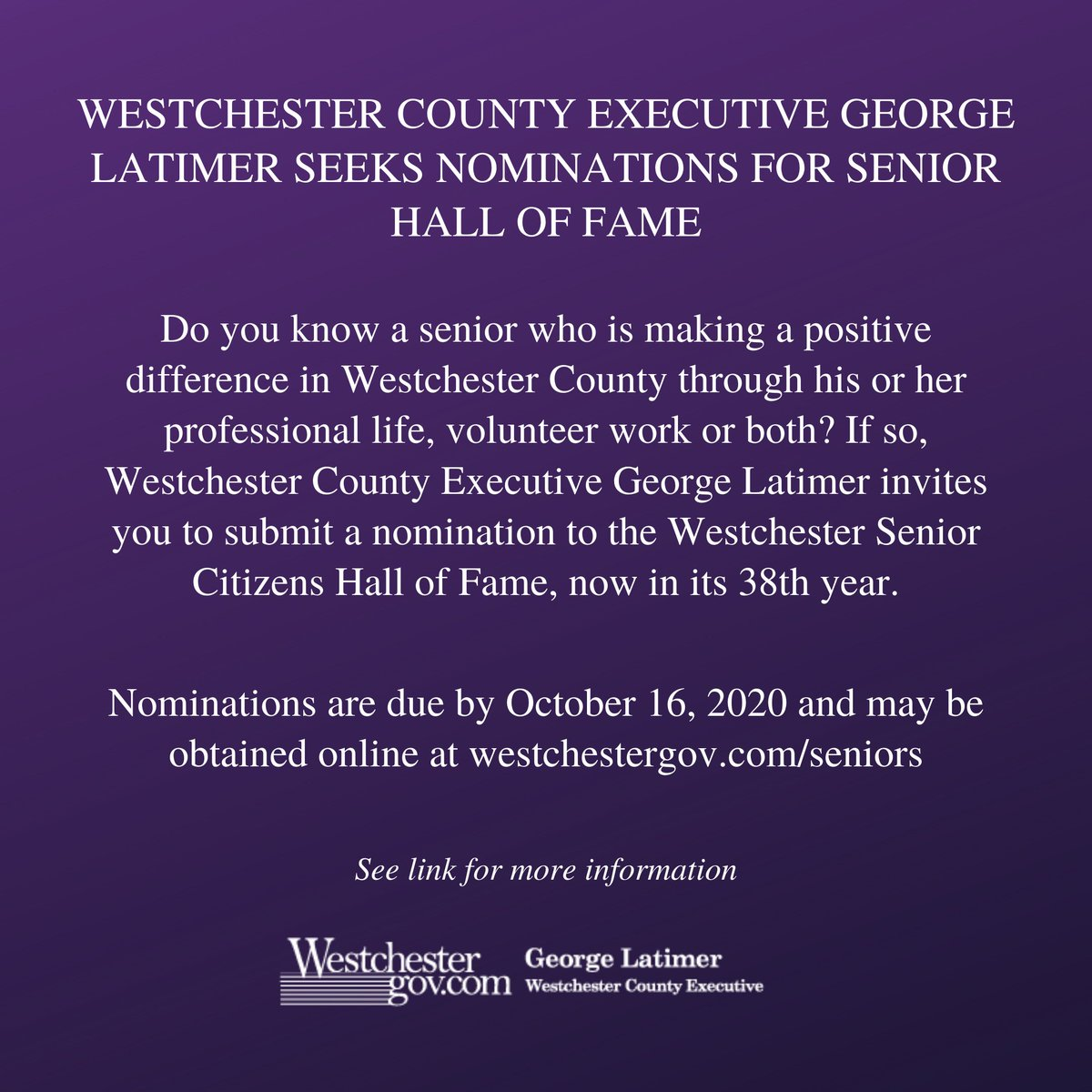 Westchester County Executive George Latimer Seeks Nominations for Senior Hall of Fame