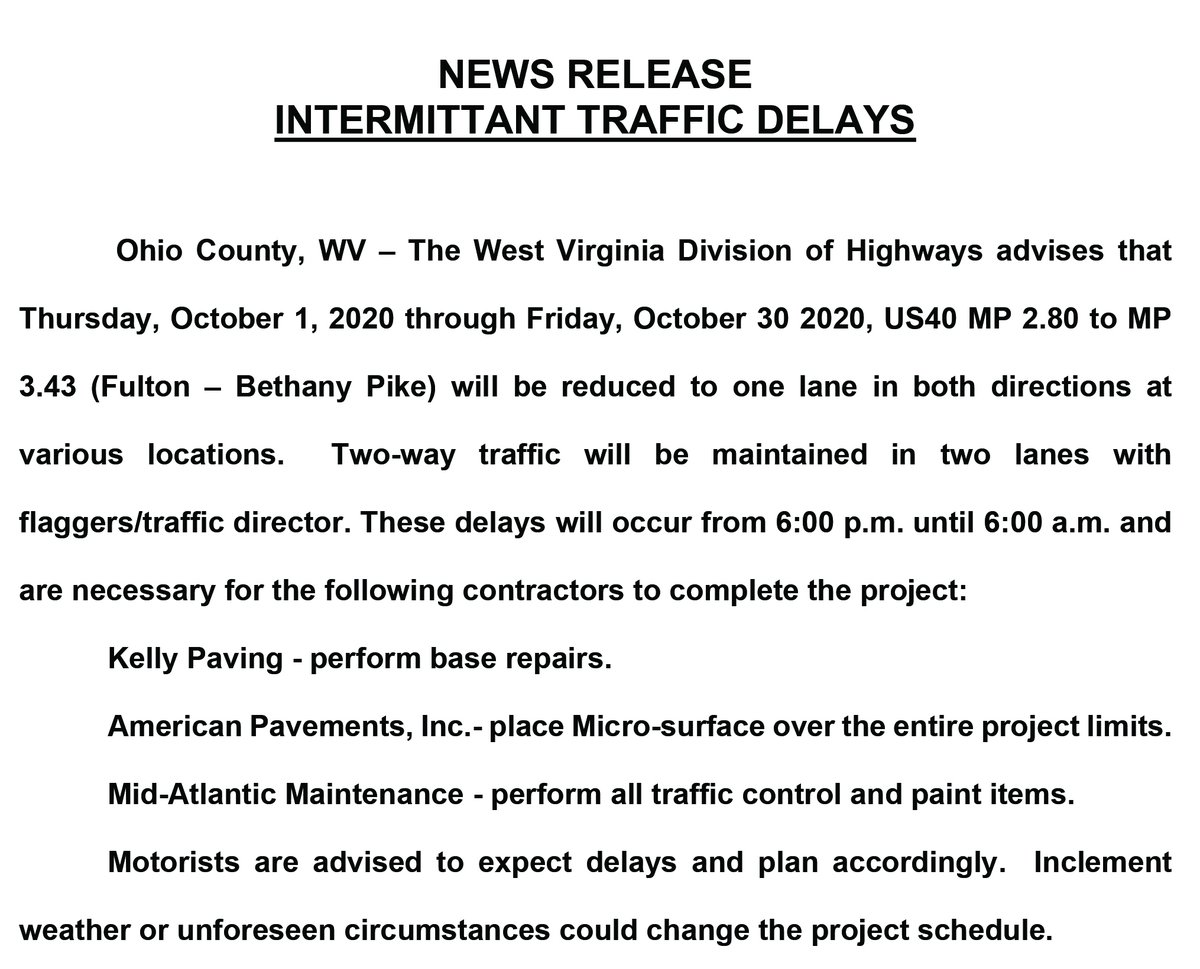 Nighttime road work is planned in the Woodsdale/Ward 4 area of the city starting Oct. 1.