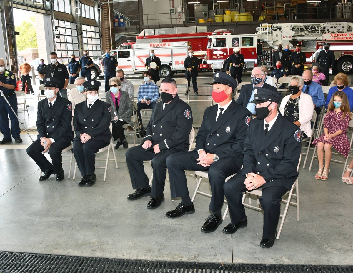 Mayor Horrigan was proud to promote five @AkronFiredept  Lieutenants today!  Congratulations to new Lieutenants Falcone, Gearhart, Hoch, Frabotta, and Dixon.    #HeyAkron, lets thank these firefighters for their hard work and dedication!