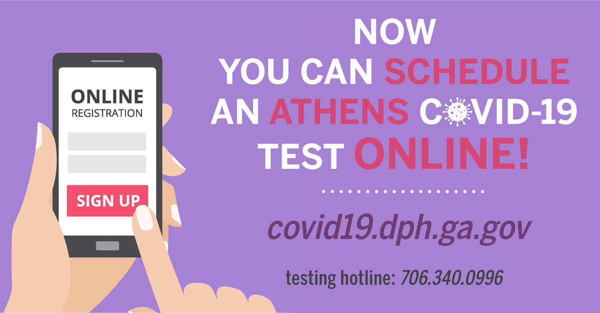 @NEHealthDept is now offering online scheduling for its Athens, Loganville, and Winterville COVID-19 testing locations. Visit  to schedule an appointment at these sites. The new online system will augment the existing telephone hotline. Testing is free.