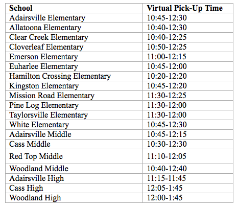 Meal pickup for our distance learners started today! Bartow County School System families enrolled in distance learning can pick up one breakfast and one lunch each day – except on school holidays – from the front office of any Bartow County school. Times are outlined below.