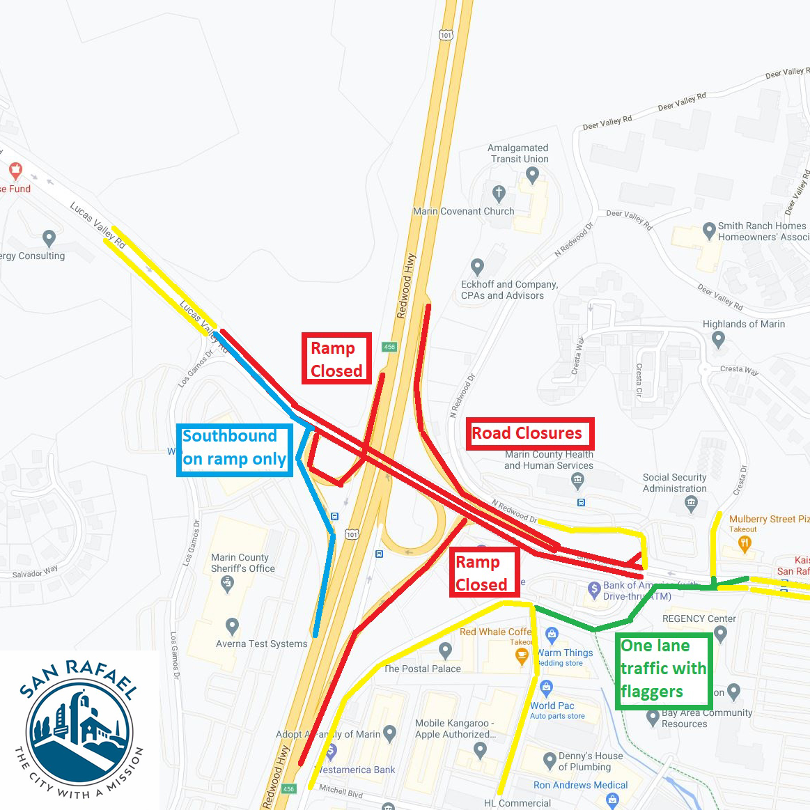 #RoadWork Alert: From 9/28-10/2, @SanRafaelDPW will be repaving sections of Smith Ranch Road & Lucas Valley Road near HWY 101.  This'll be nighttime (9PM-6AM) only. Road closures & #traffic detours will be in place during the night work.  #MarinCounty @CaltransD4 @CityofSanRafael
