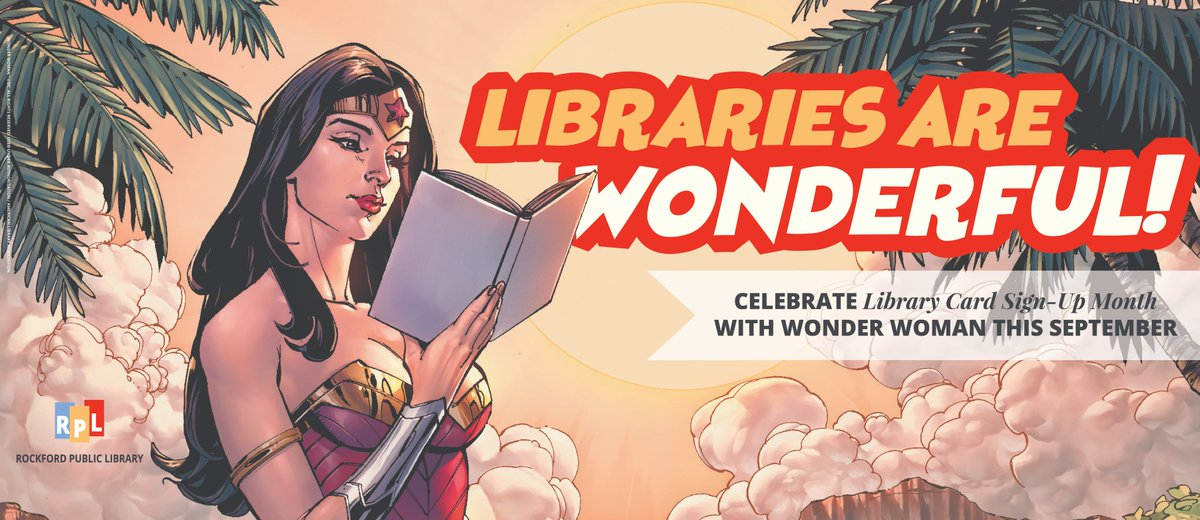 If you're a fan of Wonder Woman, sign up for a library card to read comics, watch movies, and so much more! #LibraryCardSignupMonth #RPL #lovelibraries