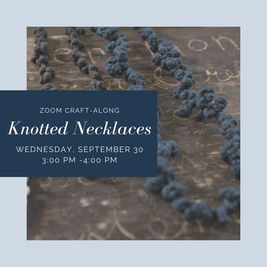 Join us on Zoom for a special #BedfordNHLibrary #Craft-Along event as we learn to make knotted necklaces using @CreativeBug. Registration is required for this event and supplies can be picked up at the Library.  To register, please call 472-2300 or visit