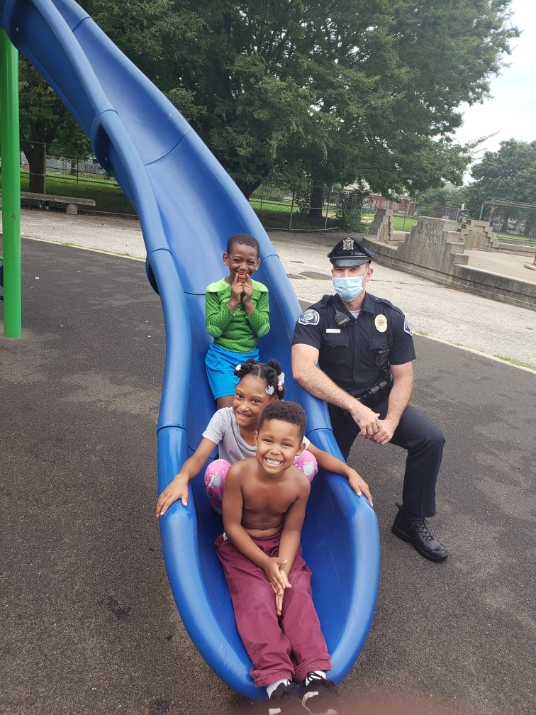 All smiles with Officer Baehr in Centerville! #CamdenStrong #StrongerTogether