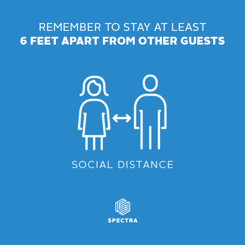 We want you to feel welcome & safe in our facility.  We practice Social Distancing by keeping households 6 feet apart from other guests.  We have markers on our floors to remind family groups to separate.  We have socially distanced sets in our rooms & floor plans for our theater