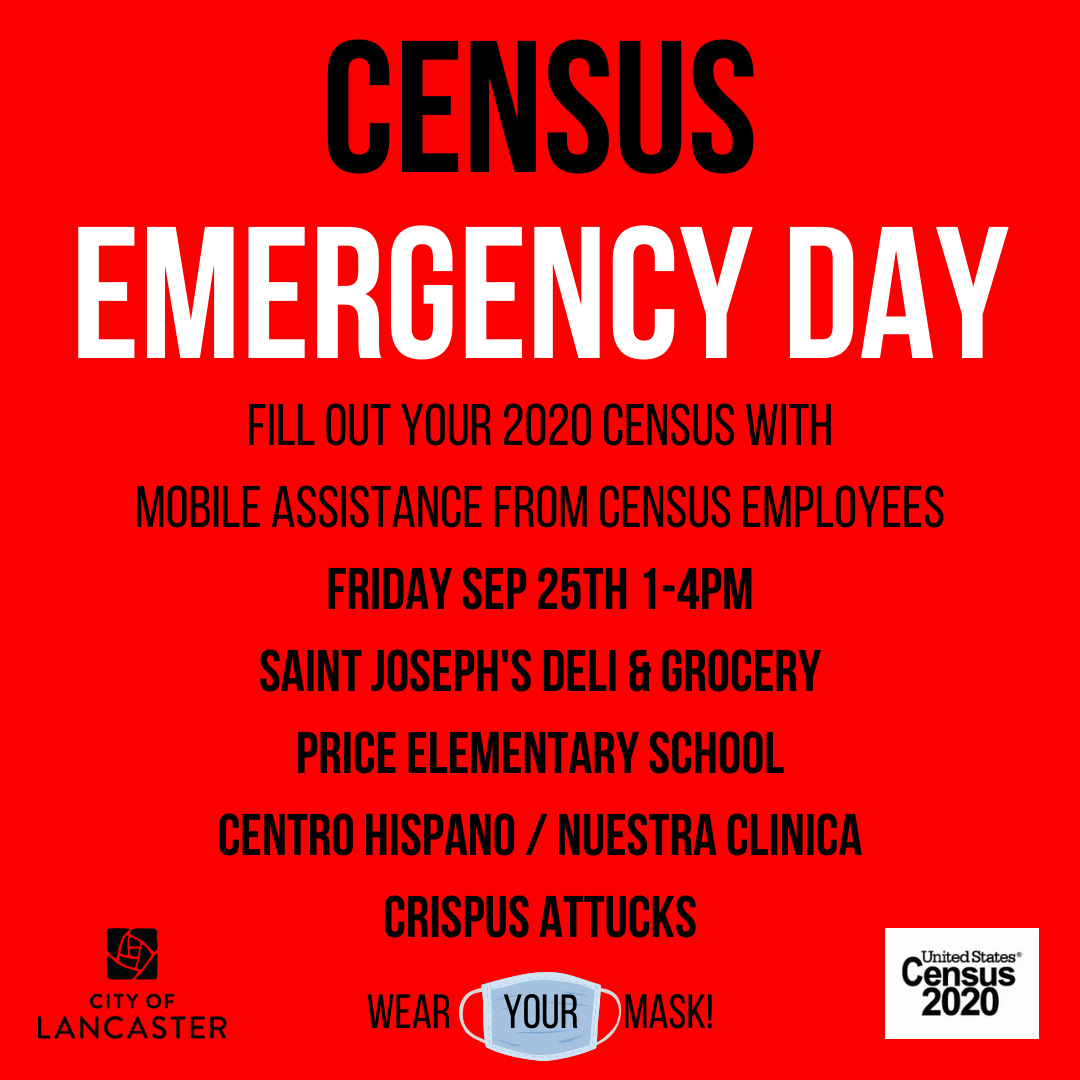 Friday, September 25 has been declared #CensusEmergencyDay as we head into the final days of the #2020Census count. If you have not completed your 2020 Census yet, please do so online at .