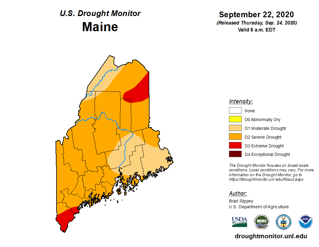 A large portion of our forecast area is in Severe Drought with some Extreme Drought in Aroostook & Far NE Penobscot County. We are wondering what is the current state of your Well? Are you running dry? Let us know along with your location (town/city). #MEwx #Drought