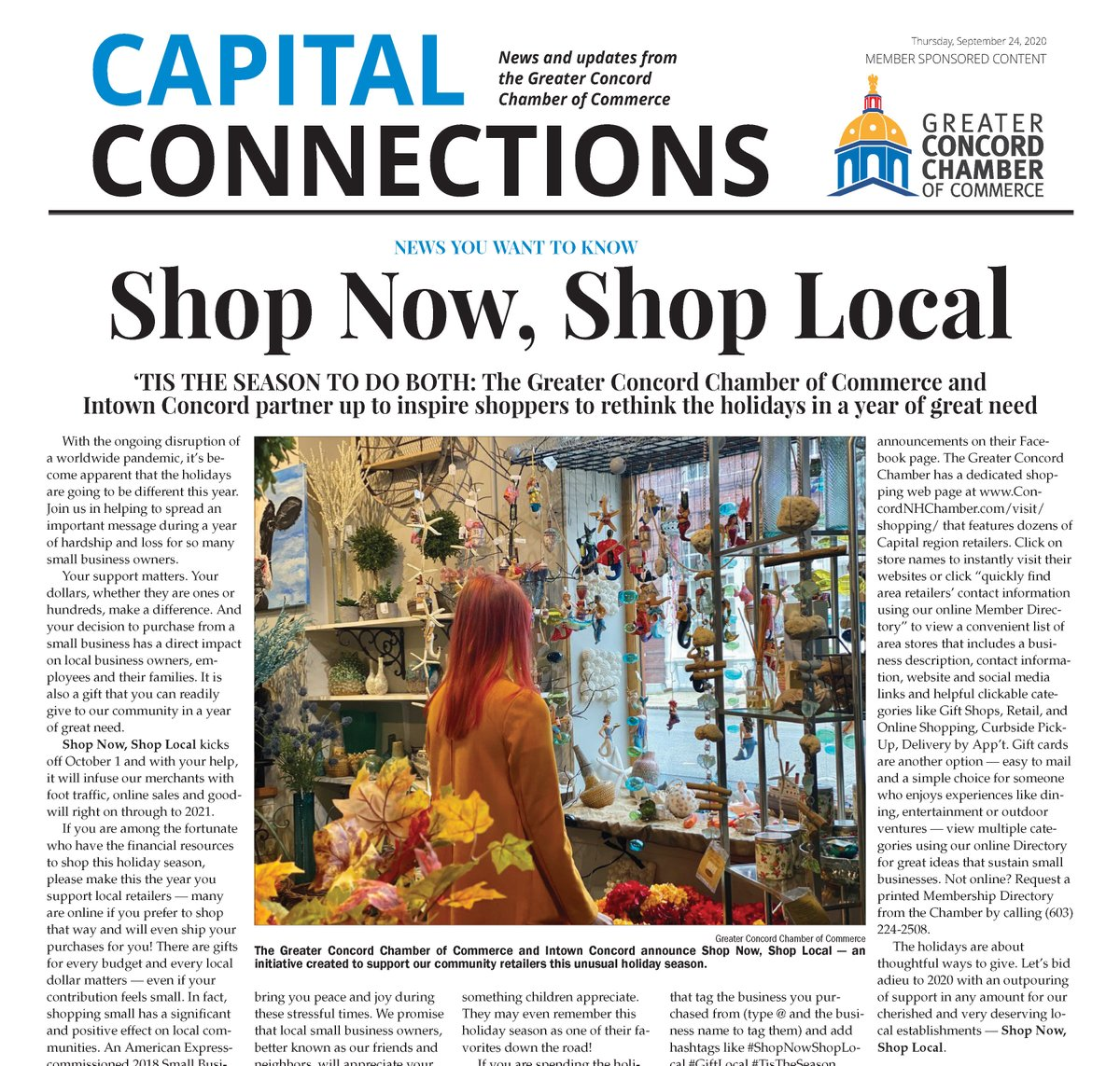 We're proud to announce #ShopNowShopLocal a campaign created in partnership with @IntownConcord to support merchants in the Greater Concord #NH area during this year of great need. If you missed it in today's @ConMonitorNews you can read it on our website: