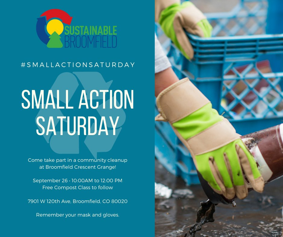 Join CCOB & Sustainable Broomfield for a cleanup & composting event at the Broomfield Crescent Grange on Sat. Sept. 26, 10 a.m. - 1 p.m. Send an RSVP to SustainableBroomfield@gmail.com & become a composting expert.   Visit  to learn more. #BroomfieldWZ