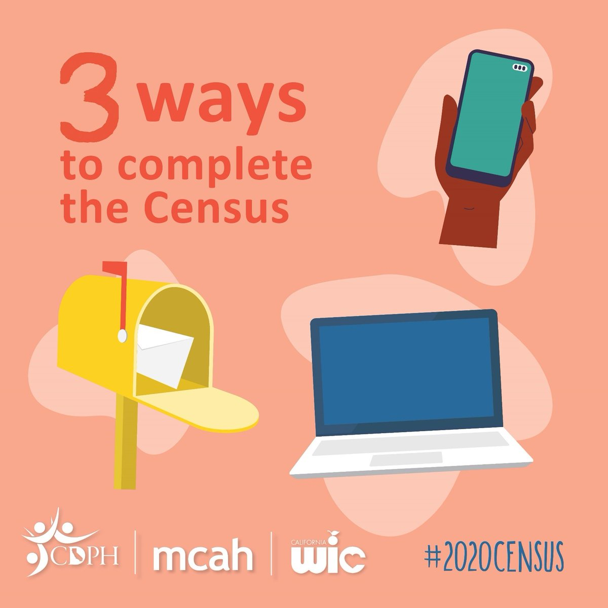 Stand up for your community by filling out the 2020 Census today. You can complete the 2020 Census in three ways:   • Online at  • Phone (844-330-2020) • Respond by mail   #EveryoneCounts #CountMeIn
