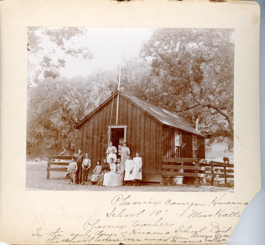 A view of Huasna School. Ten students and female teacher are posed in front of the door. The other photos are of a woman with a calf in the Huasna Valley in the 1920s. Check out the @historyslo  archives at: