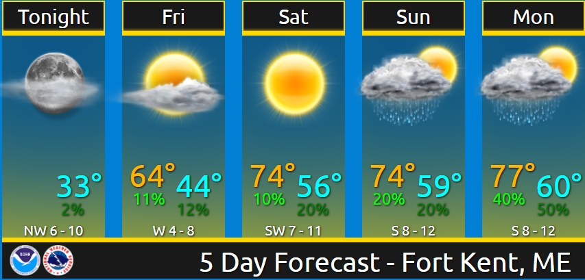 Fort Kent here is your forecast through Monday. Nice & warm weekend on tap. You can always get your forecast by visiting  and entering your zip code. #MEwx