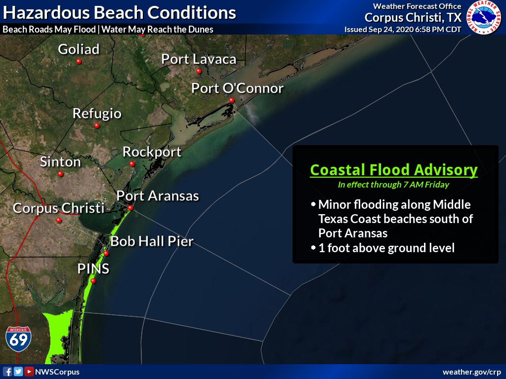 A Coastal Flood Advisory is in effect through 7 AM Friday for the islands of Nueces and Kleberg Counties as tidal levels will be high during time of next high tide later tonight. Water will reach the dunes at times and also cut off beach access roads.