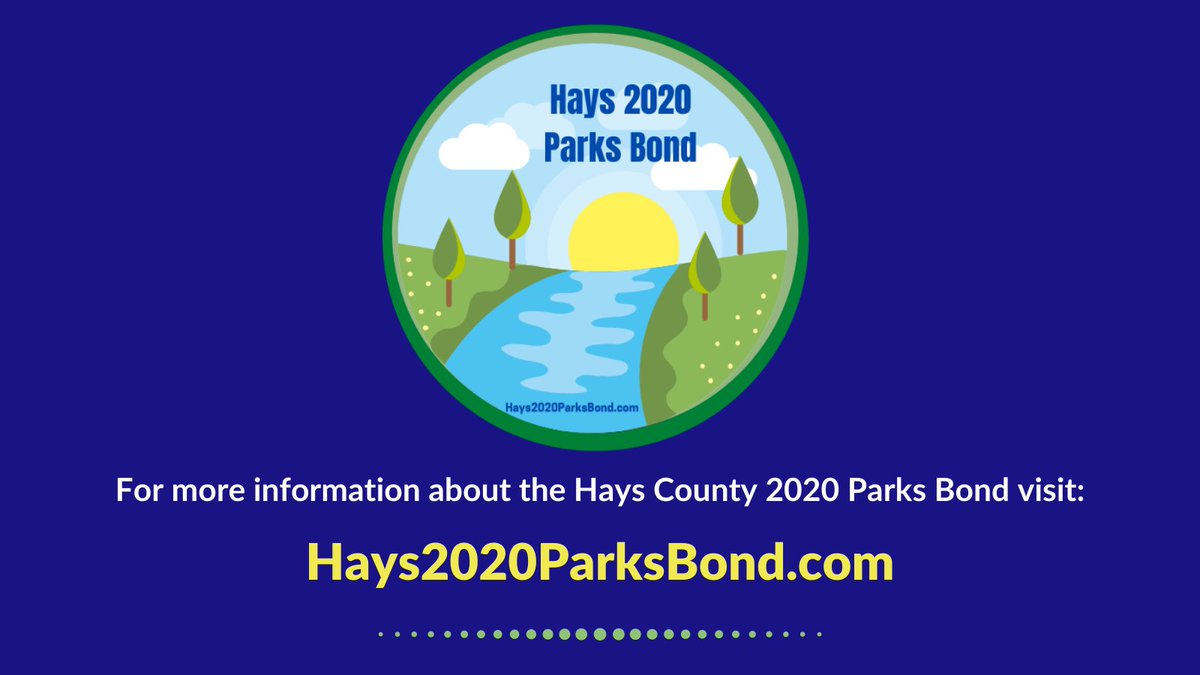 Hays County voters will have an opportunity to vote on Proposition A, the #Hays2020ParksBond, in the upcoming General Election. Find information about what's on the bond, frequently asked questions and much more on this website: