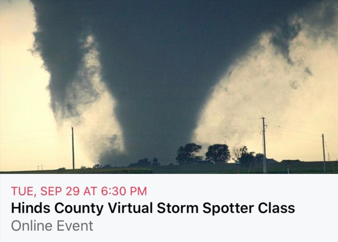 FREE Virtual Storm Spotter Class Tuesday, Sept 29th 6:30pm - 7:30pm  This class will be taught by @NWSJacksonMS virtually over the GoToWebinar platform.   To register, contact Brandy Martin at 601-960-1476.   We hope to see you there!