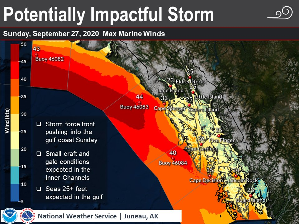 We are eyeing a fall storm moving in late in the weekend that will likely impact the coastal and offshore waters of Southeast Alaska.   For more information, visit  #AKWX