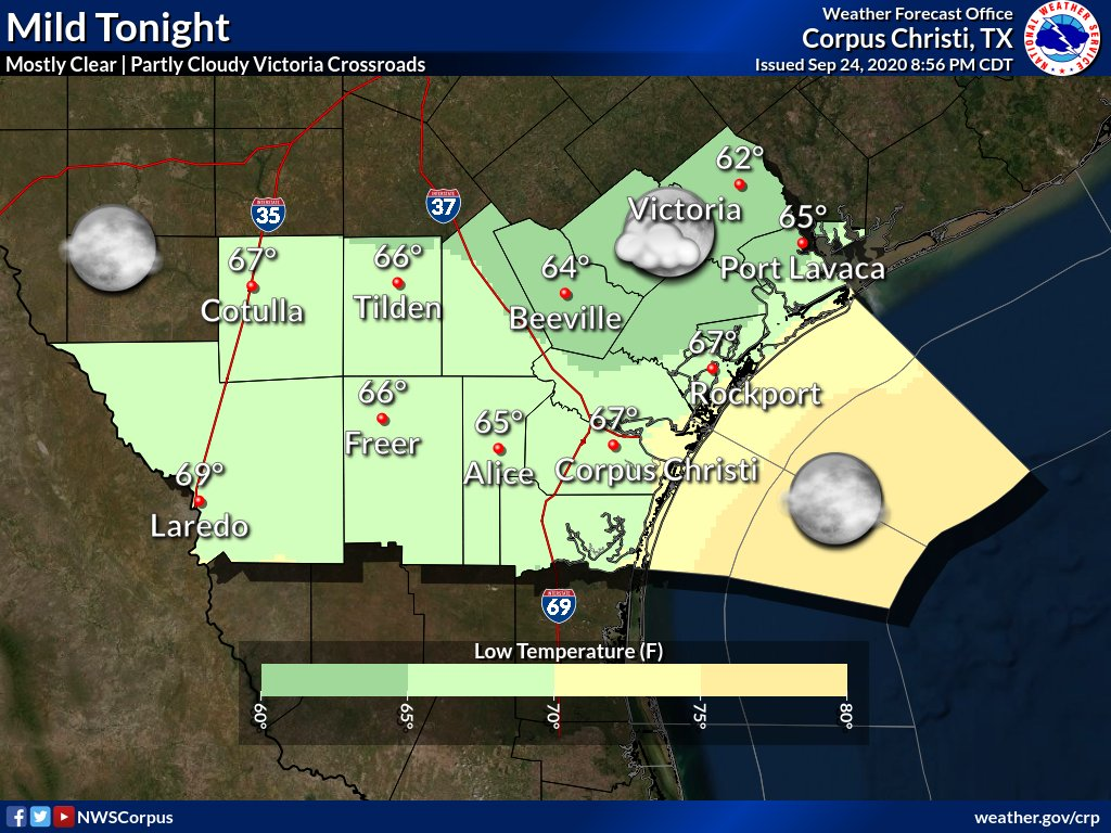 Tonight might just be the perfect night to look to the skies for Jupiter and Saturn 🪐. Expect mostly clear skies across most of the area. Partly cloudy skies expected over the Victoria Crossroads as well as possible patchy fog. Lows will be in the mid to upper 60s. #txwx #stxwx