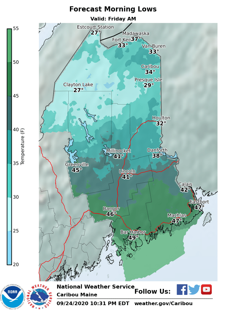 Estcourt Station is already down to 32°F. Here is the forecast morning lows for tomorrow #MEwx