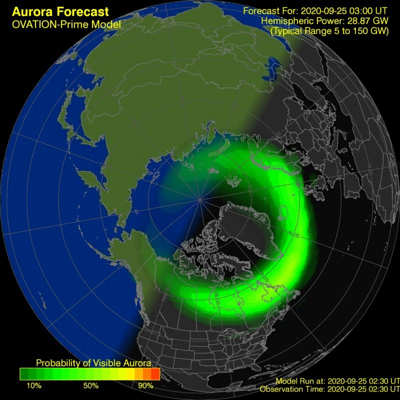 The Northern Lights may be possible after Midnight across Far Northern Areas perhaps low to the horizon. Keep an eye out for them and feel free to share your pictures with us! #MEwx #NorthernLights #Maine