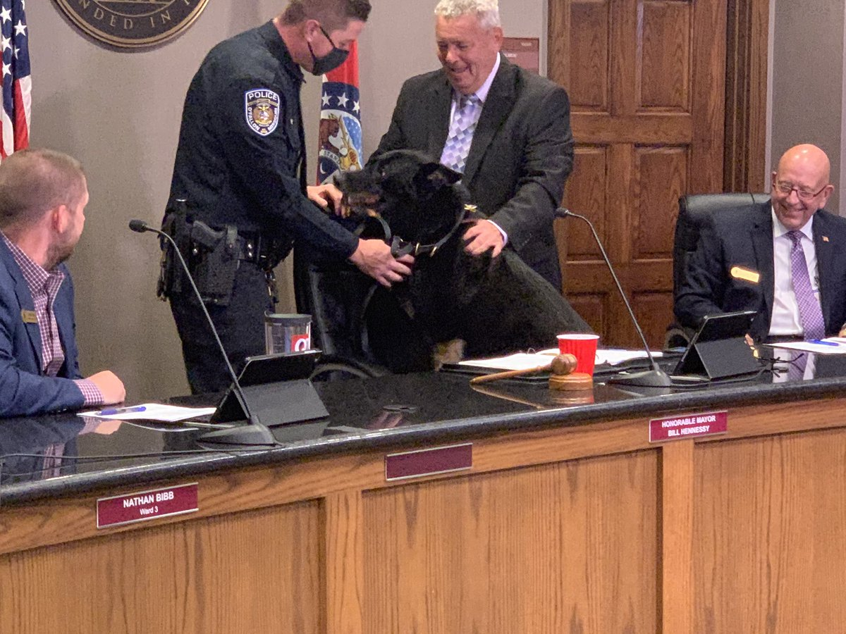 Tonight, the City Council saluted K-9 Officer Talos & Officer Michael Aronson. Talos, a 9 yr. old German Shepard, retired after 7.5 years with OPD. They were one of the top K-9 teams in the Midwest! We hope Talos enjoys a long, healthy retirement in the care of the Aronson family