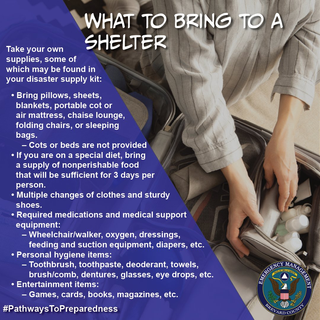 When a storm is threatening our area, residents who evacuate to a shelter should bring their own supplies like: sleeping items, clothing, medications and medical supplies, personal hygiene items, special dietary nonperishable foods, and entertainment. #PathwaysToPreparedness