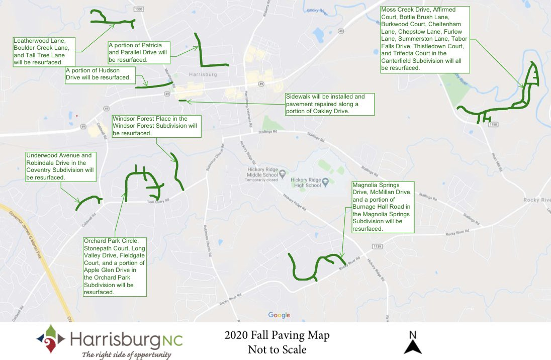 The Town is continuing to utilize the 2017 Transportation Bond dollars for street resurfacing. Approximately seven miles of roadway will be resurfaced this year with a total cost of $1,030,000.  Check out the map to see if your neighborhood will be resurfaced! #HarrisburgNC