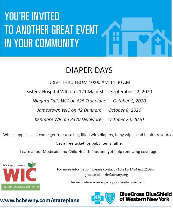 Note the new date for the Kenmore Diaper Days event from our friends at WIC....