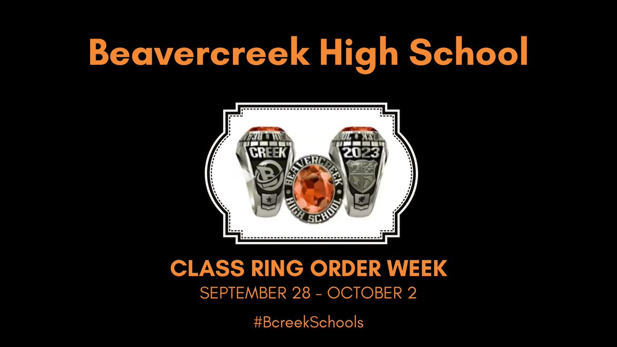Next week, September 28 - October 2, is class ring order week. Did you know? Orders for class rings submitted by Friday, October 2 will include a FREE Beavercreek hoodie or backpack! Go to  for more details! #BcreekSchools