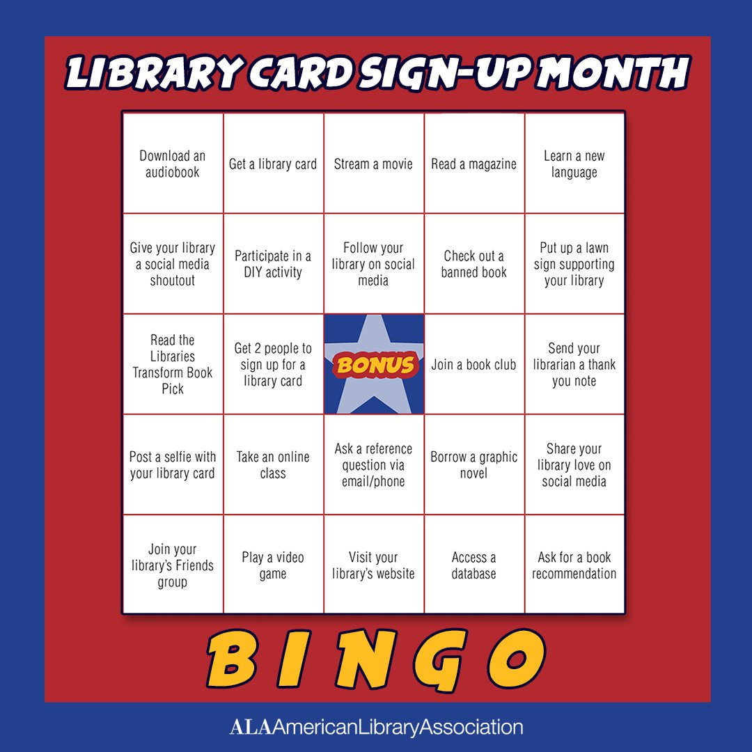 What is your favorite way to use your library card? From virtual story times to audiobooks to DIY Grab and Go kits, there is something for everyone. The Bingo card offers more ideas . 💡  Sign up at . #LibraryCardSignupMonth!  @PAforward #BasicLiteracy