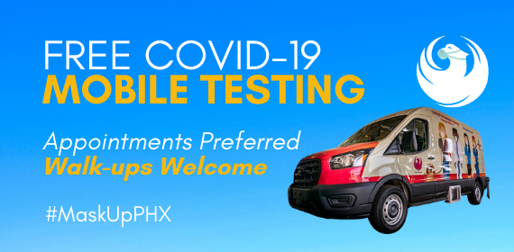 Free #COVID19 testing with our mobile testing van is happening today until 12:30pm at:  Mountain View Community Center 1104 E. Grovers, Phoenix, AZ 85022  Appointments preferred, walk-ups welcome!  For appointments and to see other days and times: