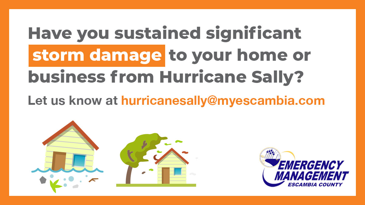 🌀If you have sustained damage to your home or business due to #HurricaneSally, please email photos of the damage, along with your address or neighborhood in the subject line & a brief description of the damage (200 words max) to hurricanesally@myescambia.com.