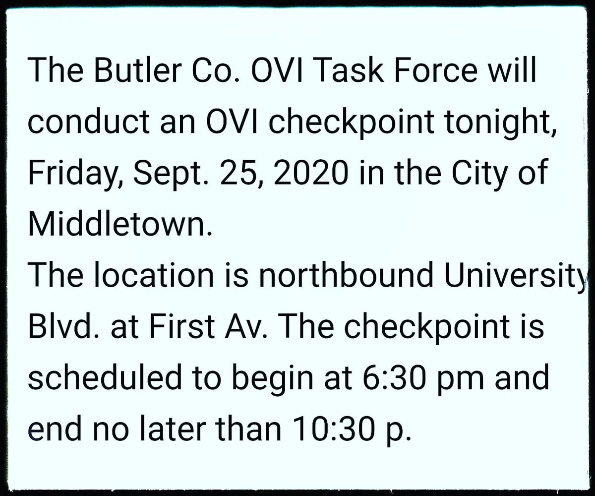 An OVI checkpoint will be conducted in Middletown Ohio this evening. #ButlerCounty #Ohio