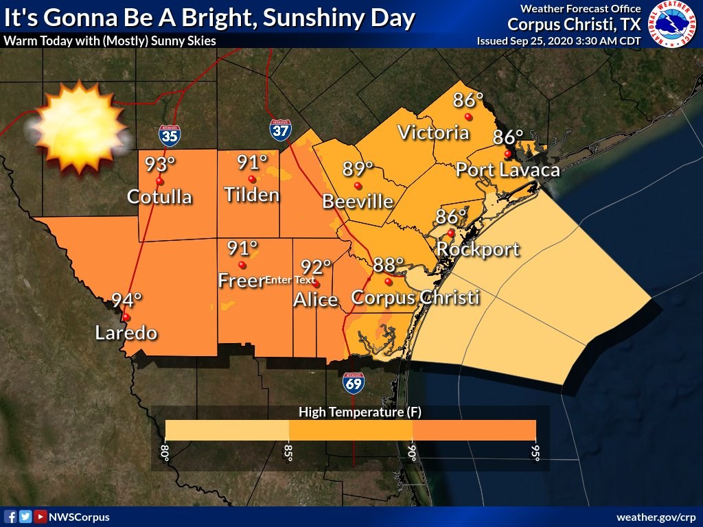Today should be beautiful for all those who want to spend some time outdoors. Temps will be in the mid 80s to mid 90s with mostly sunny skies. Tonight will be perfect to look at our big and bright stars over South Texas with mild temperatures and mostly clear skies. #stxwx #txwx