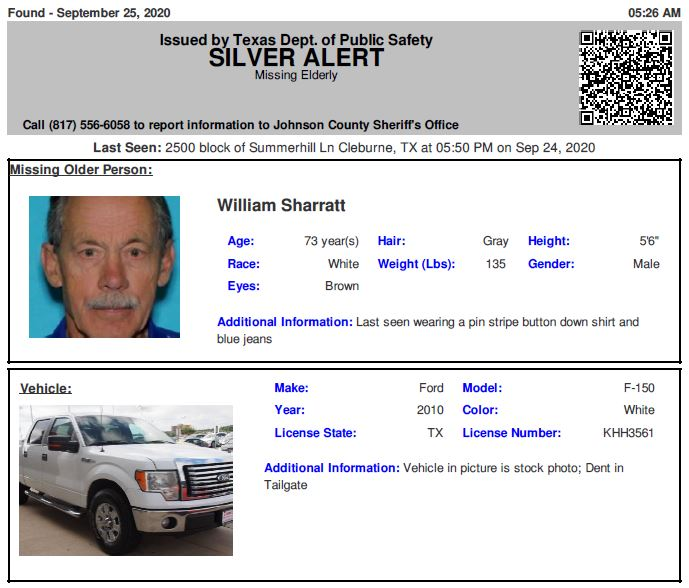 RT @TX_Alerts: DISCONTINUED SILVER ALERT for William Sharratt from Cleburne, TX, on 09/25/2020, Texas plate KHH3561.