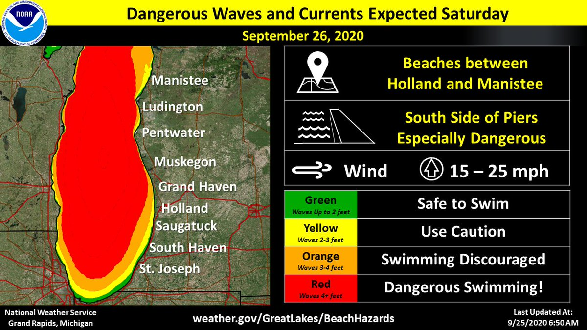7:00 AM 9/25/2020:  Hazardous swimming conditions are expected on Saturday from Holland to Manistee. Consider postponing your beach day, or travel to a safer location. Stay dry when waves are high! #wmiwx