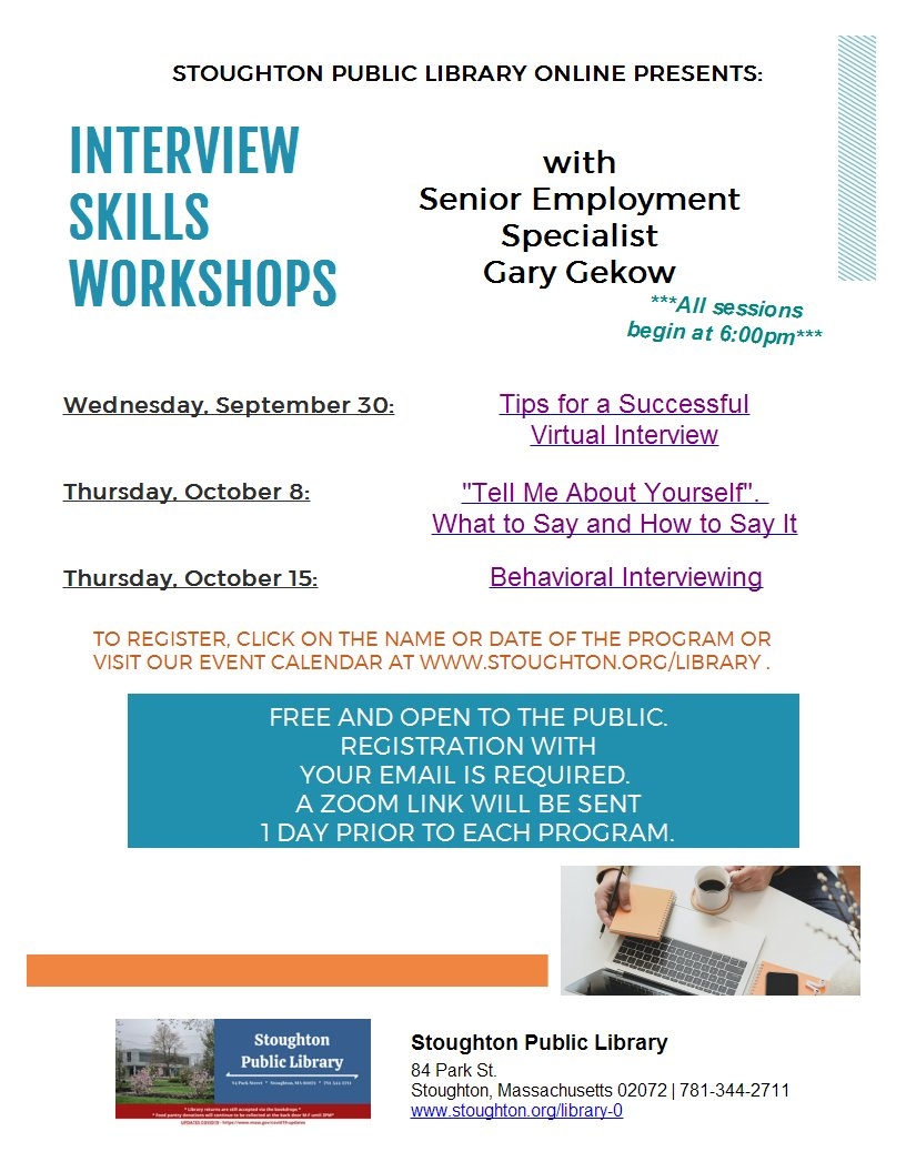 Virtual program series this fall from our friends at the Stoughton Public Library!!!