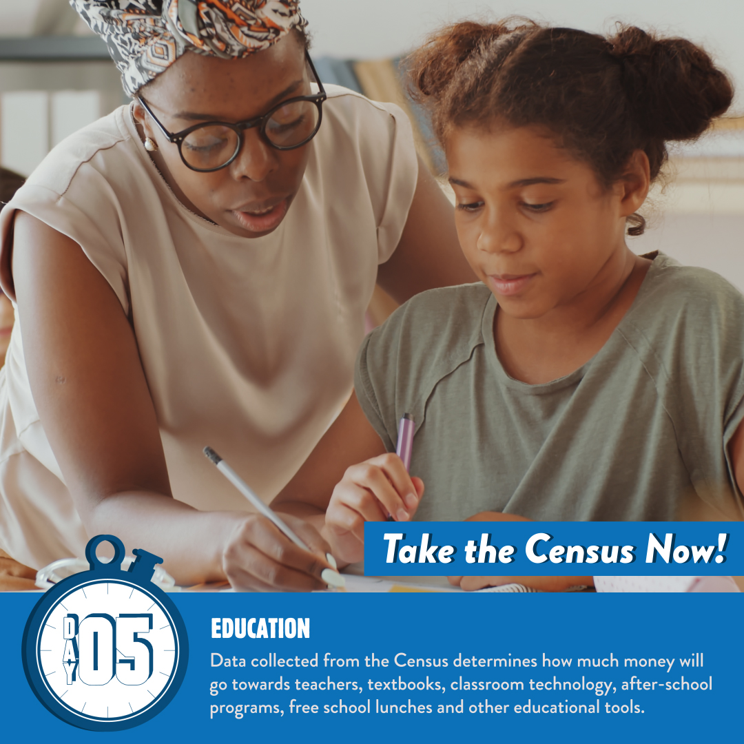 Data collected from the Census determines how much money will go towards teachers, textbooks, classroom tech, after-school programs, free school lunches + other educational expenses. #GetCounted TODAY to provide quality education in your neighborhood.   👉