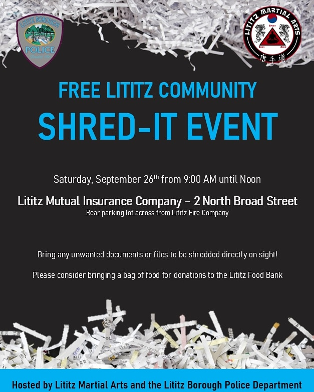 REMINDER: Our Shed-It event is tomorrow from 9am-Noon in the rear parking lot of Lititz Mutual.  Bring any unwanted documents.  The event is free and open to the public.  Donations are being accepted for the Lititz Community Food Bank.