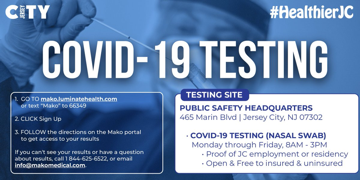 Walk-up (nasal swab) testing at 465 Marin Blvd is open Mon - Fri from 8am - 3pm. Tests are FREE for #JerseyCity residents - NO appointment needed. For more information, head to   #HealthierJC